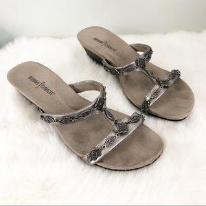 Minnetonka Pewter Wedge Sandals Sz 7